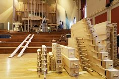The new organ in the second week of construction, July © Royal Academy of Music, July 2013