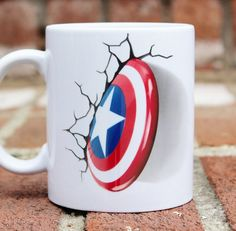 Captain America Avengers Marvel mug Unique Coffee Mugs, Funny Coffee Mugs, Funny Mugs, Clay Mugs, Ceramic Mugs, Marvel Mug, Personalized Mugs, Polymer Clay Crafts, Ceramic Painting