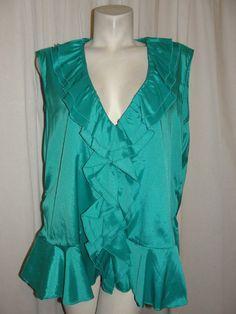 Ashley Stewart Green Stretch Polyester Ruffle Vneck Sleeveless Top Plus Size 22W…