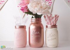 Rose gold decor, copper mason jar, centerpiece, party decor, baby shower, vase, rose gold mason jar, pink, blush, cream, ***PROCESSING TIME IS 1-2 WEEKS OR LESS BEFORE SHIPMENT. SHIPPING TAKES 2-3 DAYS FOR US STATES *** These gorgeous painted and distressed mason jars are ideal for baby