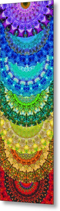 #chakras #mandalas Chakra Mandala Healing Art By Sharon Cummings Metal Print by Sharon Cummings. All metal prints are professionally printed, packaged, and shipped within 3 - 4 business days and delivered ready-to-hang on your wall. Choose from multiple sizes and mounting options.