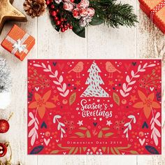 Seasons Greetings in white text Holiday Card I love creating Christmas Holiday products link through MY bio Holiday Themes, Christmas Themes, Christmas Holidays, Christmas Decorations, Corporate Christmas Cards, Business Holiday Cards, Merry And Bright, Corporate Business, Seasons