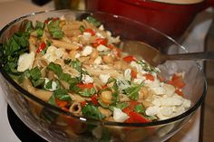 this sounds perfect to me right now- lemony penne with chickpeas, feta and tomatoes.