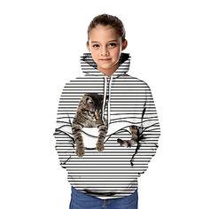 Kids Girls' Active Cat 3D Graphic Animal Print Long Sleeve Hoodie & Sweatshirt Rainbow 2020 - US $23.09 Sweatshirts Online, Hoodies, Lany, Kids Girls, Rainbow, Children, Long Sleeve, Sweaters, Animals
