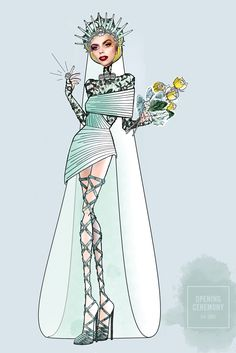Lady Gaga wedding dress imagined by Carol Lim and Humberto Leon for OpeningCeremony [Courtesy of the designer]