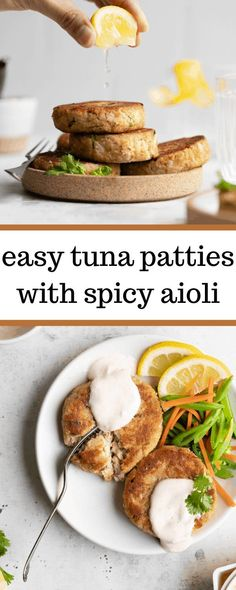 For a filling and protein rich meal, these Easy Tuna Patties with Spicy Aioli do the trick. They're made with tuna, crackers, and lemon juice, and are topped with a zesty and spicy homemade aioli sauce! Healthy Appetizers, Healthy Dinner Recipes, Healthy Snacks, Healthy Eats, Healthy Dinners, Appetizer Recipes, Tuna Recipes, Seafood Recipes, Meal Recipes