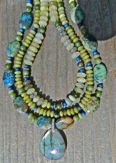 Multi strand Turquoise Necklace  by CoastAndMountainArts on Etsy