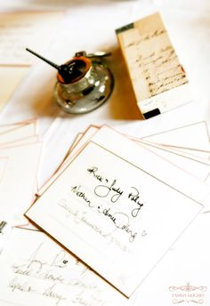 - vintage fountain pen, notecards to the couple - en lieu of a standard guest book...charming!
