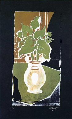 """Georges Braque """"Leaves in Color of Light"""" (1953) lithograph on paper."""