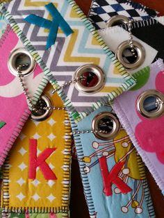 Luggage Tags Key Tags Bag Tags Key Rings by elliemarshallsews, $5.00