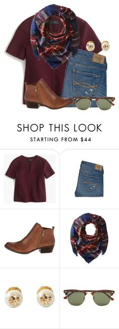 """"" by flroasburn ❤ liked on Polyvore featuring J.Crew, Abercrombie & Fitch, Lucky Brand, Steve Madden, Tory Burch and Ray-Ban"