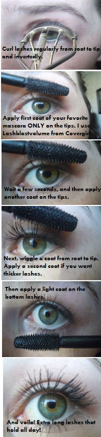 People weigh down lashes by starting at the root. Also, starting at the root not only wastes more mascara, but makes the lashes fall really quickly. Using a limited and light amount of mascara with a good technique is the best way to go. How to apply mascara to get INSANE length and 24-hour hold :)
