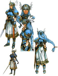 The main character, Lenneth. Her concept art was pretty good but later renditions decreased the fabric and made her more passive. - Art from the game Valkyrie Profile. When it first came out the illustrations were in a league of its own.