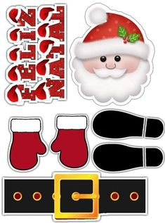 Papai noel para montar no bolo Christmas Clipart, Silhouette Projects, Gift Tags, Cake Toppers, Free Printables, Pastel, Xmas, Clip Art, Birthday