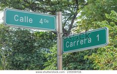 Street signs in the city of Cali in Colombia.