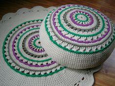 Crochet Pouf / Ottoman / Floor Cushion /  Eco friendly Decor / Housewares / Cream / Rainbow / Crochet pouffe / Footstool / Colorful