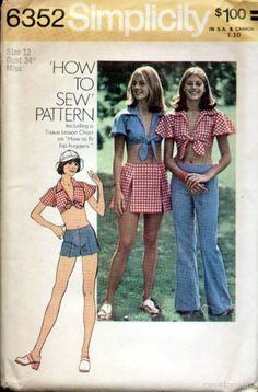 Vintage Midriff Top, Hip Hugger Pants Pattern Bust : Vintage Sewing Patterns, Heavens To Betsy 70s Outfits, Vintage Outfits, Skirt Patterns Sewing, Simplicity Sewing Patterns, Vintage Sewing Patterns, Skirt Sewing, 70s Inspired Fashion, 1960s Fashion, Vintage Fashion