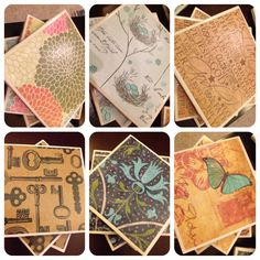 Coasters- 4x4 tile from Lowes, scrapbook paper, modge podge, cork tile from craft store, finish it off with clear glossy spray paint. So easy and cheap and look awesome!