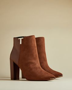 T detail suede ankle boots - Tan | Boots | Ted Baker UK