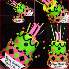 Colorful & fun lime green, black, & hot pink--> 2 tier birthday cake.