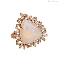 Opal Gemstone Baguette Diamond Cocktail Ring Handmade FINE Jewelry 18k Rose GOLD #Handmade #Cocktail