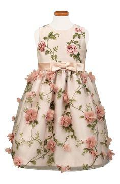 Embellished Floral Print Organza Dress (Toddler Girls, Little Girls & Big Girls)
