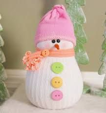 2014 Christmas colored button crochet snowman with pink hat and yellow scarf