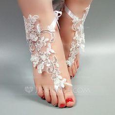 Women's Peep Toe Sandals Beach Wedding Shoes Lace Stitching Lace Flower Applique Wedding Shoes
