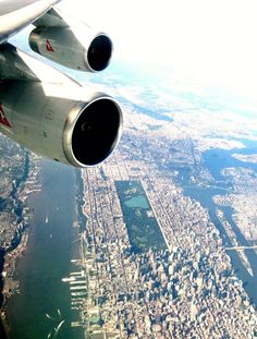 QF107 circles over downtown Manhattan, awaiting clearance to land at New York's JFK Airport. Thanks to Michelle Gallop from our Cabin Crew team for sharing this great pic.