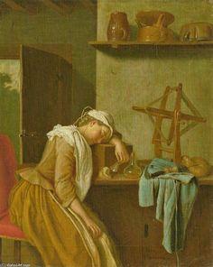 Schlafendes Küchenmädchen de Clara Peeters (1594-1657, Belgium)