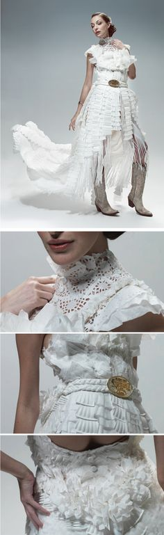 A dress made of paper plates, plastic forks and knives, napkins and coffee filters by Kara Chomistek for Chinook Centre's Stampede Breakfast. Paper Fashion, Diy Fashion, Fashion Show, Paper Clothes, Paper Dresses, Recycled Art Projects, Recycled Materials, Anything But Clothes, Paper Plate Art