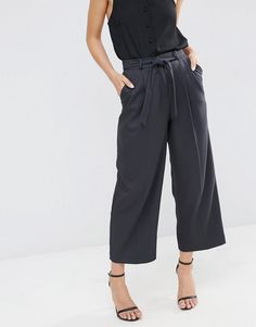 Image 4 - ASOS Culotte with Tie Waist in Mini Check