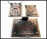 Sawed textured copper pendant on a back plate...like!