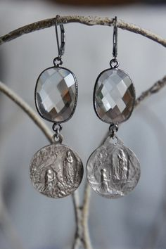 Miracle at Lourdes vintage medals and bezel set crystal earrings by frenchfeatherdesigns on Etsy.