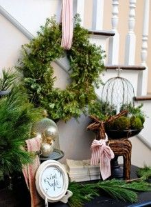 Dear Lillie: Jamie and Josh's Christmas Past.red and white ribbon :) Noel Christmas, Merry Little Christmas, Country Christmas, All Things Christmas, Winter Christmas, Christmas Wreaths, Christmas Crafts, Christmas Decorations, Holiday Decor
