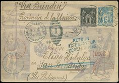 """Philippines Post of the insurgent Postal stationery. Spanish Outposts, 1899 Incoming Cover to La Union from France, 15c """"Sage"""" illustrated postal stationery envelope with added 10c Black on lavender type II (#91) cancelled by Jan 1899 Paris postmarks, addressed """"via Brindisi"""" to """"San Fernando, La Union Province"""", nice strike of """"Mil. Sta. No. 1 Manila"""" Sep 4 99 duplex, the cover was held for several months and eventually returned to Paris where a 9 Oct 99 red receiving backstamp applied…"""