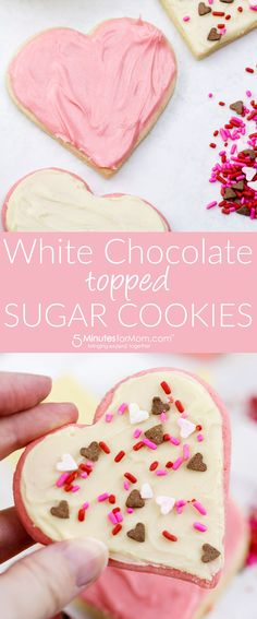 White Chocolate Topped Sugar Cookies - Perfect for a Valentine's Day treat.