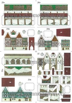 Mittelalterliche Kleinstadt (Small Medieval Town) by Hubert Siegmund - Photos Paper Glue, Paper Toys, Paper Art, Paper Crafts, Cardboard Toys, Paper Doll House, Paper Houses, N Scale Buildings, Free Paper Models