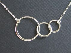 Sterling Silver Triple Circle Infinity Necklace, everyday, wedding, best friends, gift by GNVDesigns on Etsy https://www.etsy.com/listing/100057249/sterling-silver-triple-circle-infinity