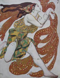 "Léon Bakst, Costume design for the ballet ""Narcisse""(1911).  #Cinabre #Influences #RussianBallet #FashionIllustraion"