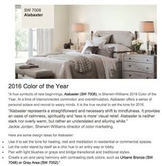 Sherwin Williams Presents the Color of the Year for 2016! Stop by our showroom to start planning your client's first project in 2016! #ToTheTrade #TradeOnly #InteriorDesign #InteriorDesigners #InteriorDesigner #Architect #Architects #HouseToHome #HomeInspo #Trending #SherwinWilliams #ColorOfTheYear  For more information visit www.WHDesignResource.com