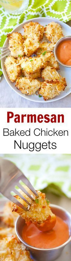 Parmesan Baked Chicken Nuggets – easy chicken nuggets with real chicken and no deep-frying. SO good!! | http://rasamalaysia.com