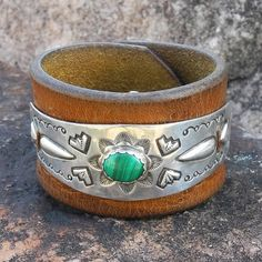 Leather Cuff Bracelet with Old Pawn by RocaJewelryDesigns on Etsy