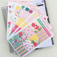 Sweet Flamingo Weekly Kit  EC vertical planner stickers
