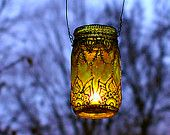 Mason Jar Lantern, Morrocan Style Silver Detailing on Lime Green Glass. $28.00, via Etsy.