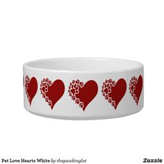 Pet Love Hearts White Bowl White Bowl, Creature Comforts, Ceramic Bowls, Christmas Card Holders, Pet Shop, Love Heart, Keep It Cleaner, Colorful Backgrounds, Your Pet