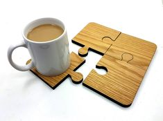Oak Jigsaw Coasters, set of 4.