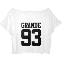 ASA Women's Crop Top Ariana Grande T-shirt Grande 93 Sport Shirt ($16) ❤ liked on Polyvore featuring tops, t-shirts, white tee, white crop top, white t shirt, white sport shirt and crop tee