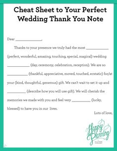 Wedding thank you card wording google search my wedding cheat sheet to your perfect wedding thank you note allyson vinzant junglespirit Image collections