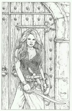 The Door by MitchFoust on DeviantArt Adult Coloring Book Pages, Colouring Pages, Coloring Books, Transférer Des Photos, Arte Dc Comics, Mandala, Fantasy Artwork, Colorful Pictures, Female Art